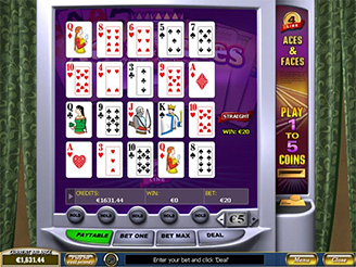 Play 4-Line Aces and Faces Video Poker Online