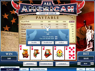 Play All American Video Poker Online