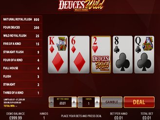 Play Deuces Wild Multi Hand Video Poker Online